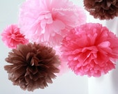 Pink & Brown Nursery - 10 Tissue Paper Pom Poms - Fast Shipping - also good for Wedding / Baby Shower / Birthday Party