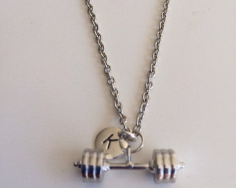 Barbell Necklace with Initial