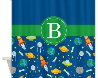 Custom Space Shower Curtain w/Monogram-Standard & Extra long sizes available-Rocket Ship-Spaceship-Earth-Saturn-Asteroid-Shooting Stars-UFO