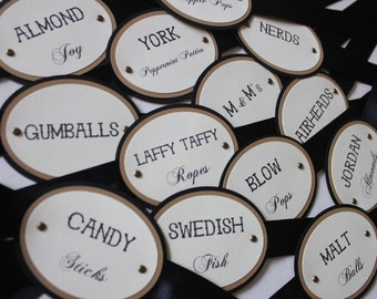 Black & Gold Candy Tags