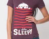 Sleepy - cute Monster T-Shirt - American Apparel - Heather plum