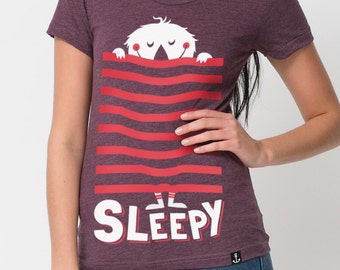 Sleepy - cute Monster T-Shirt - American Apparel - Heather plum