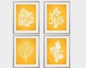 Beach House Decor, Yellow Coral Prints, Deep Yellow, Daffodil, Goldenrod, Nautical Wall Art, Coral Wall Art, Sea Coral Print, Sealife print