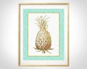 Mint Gold Art, Golden Pineapple Wall Art, Pineapple Print, Pineapple Decor, Mint Gold Decor, Golden Pineapple,Tropical Pineapple, Mint Gold