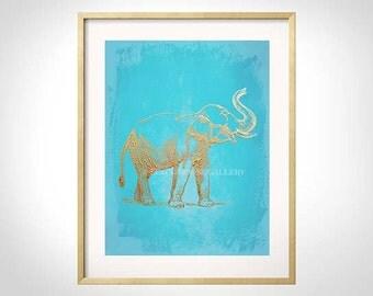 Elephant Art, Turquoise Gold Wall Art, Turquoise Elephant Print, Elephant Wall Art, Chinoiserie, Elephant Art, Turquoise Elephant