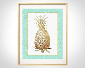 Mint Gold Art, Golden Pineapple Wall Art, Pineapple Print, Pineapple Decor, Mint Gold Decor, Golden Pineapple,Tropical Pineapple, Mint Gold