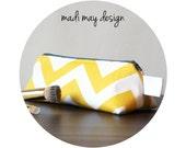 BOGO Sale Yellow Chevron Triangle Pouch - Cosmetic Bag - Chevron Cosmetic Pouch - Makeup Pouch - Yellow Chevron Bag -Travel Toiletry Bag