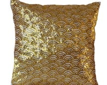 Gold Pillow Covers- Cream Gold Pillow Cases- Silk Pillows- Christmas Pillows- 16x16- Gift Pillow- Sequin Cushion- Gold Cushion- Couch Pillow