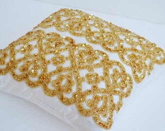 Geometric Throw Pillow Cover Gold Beaded  Detail, Gold Bead Pillow, Silk Pillow, Cushion Cover Zipper, Gift Pillow White Gold Pillow Cover