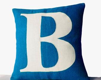 Blue Pillows -Personalized Monogram throw pillow- Burlap pillows- Turquoise White cushion -initial pillow -Decorative throw pillows- 16x16