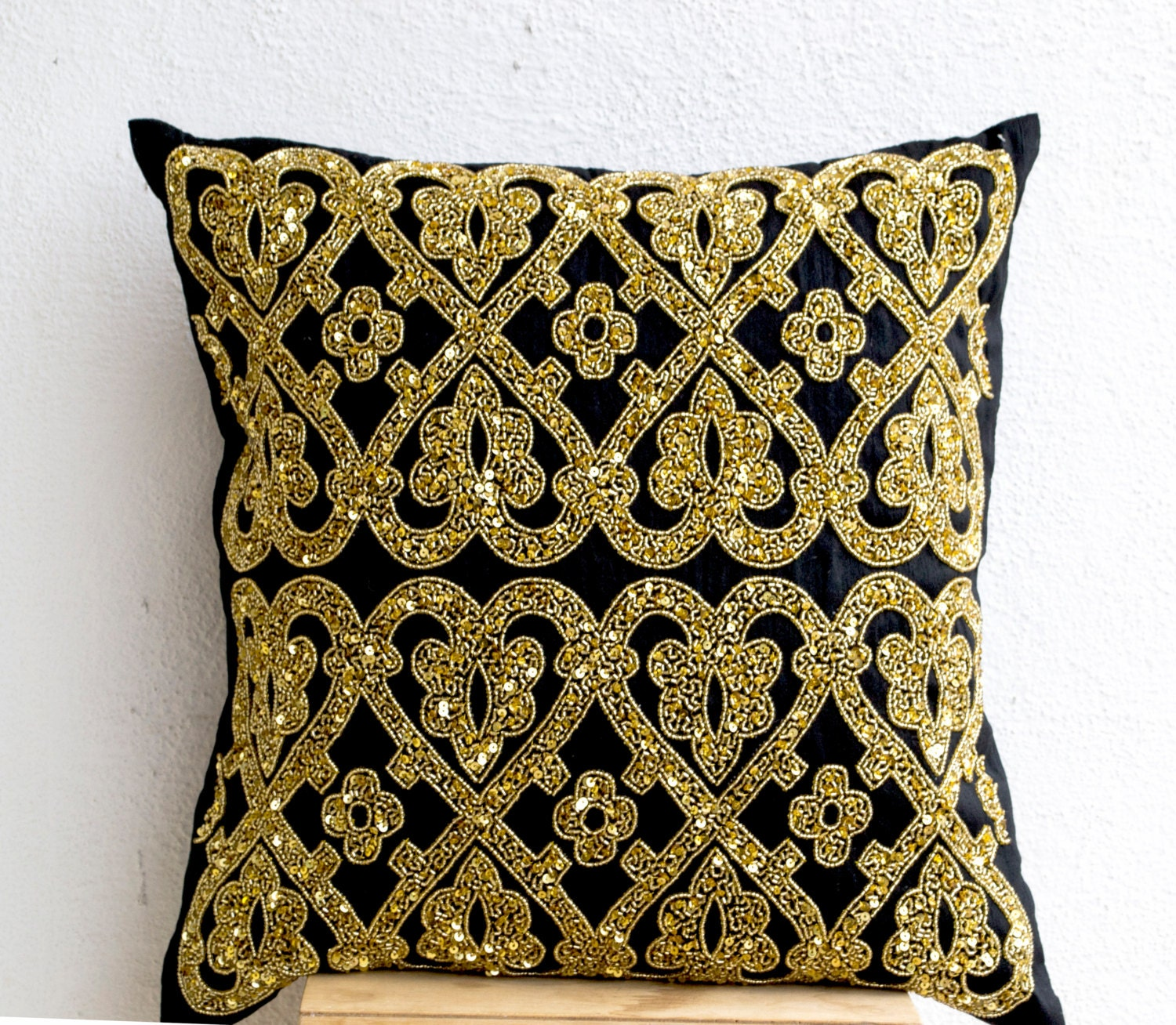 Decorative Throw Pillow Black Silk Gold Sequin By Amorebeaute