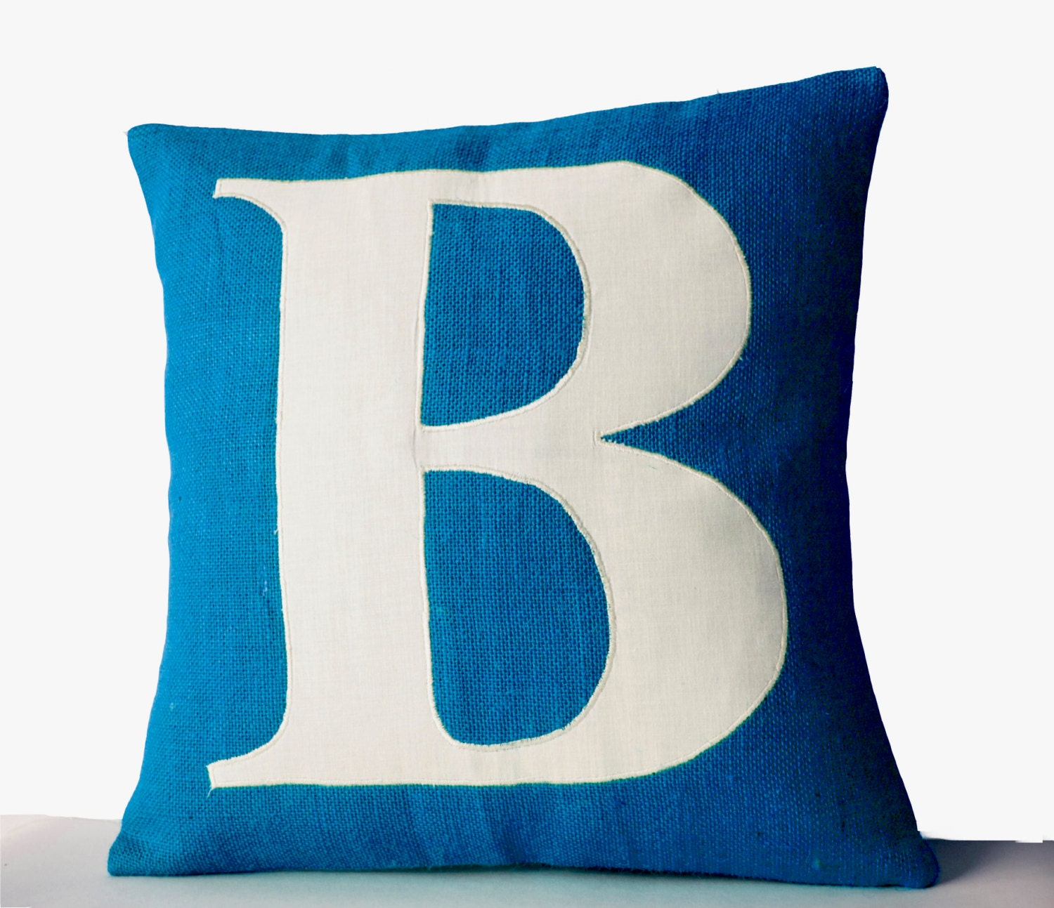 How To Make A Monogram Throw Pillow : Blue Pillows Personalized Monogram throw pillow Burlap