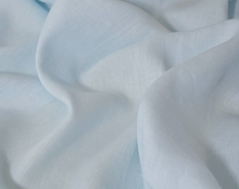 Linen fabric - baby blue , pure linen, prewashed and soft - 1 meter