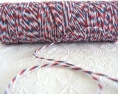 100 Yards Airmail Baker's Twine Red White and Blue Twine Spool Pretty Packaging