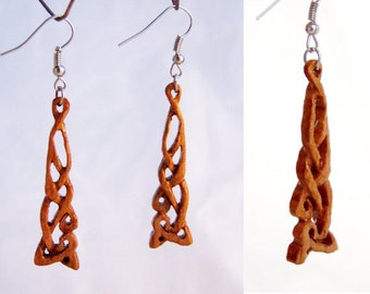 Earrings made of cherry wood
