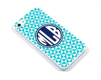 iPhone 5/5s iPhone 5c iPhone 6/6plus Samsung Galaxy S3 S4 S5 iPod touch 4th/5th Gen - Monogram pinwheel turquoise cobalt - p12
