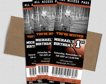 Basketball Ticket Birthday Invitation- Printable