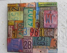 """18"""" Wall Art Antique Ceiling Tiles & Vintage Relics Made From License Plates"""