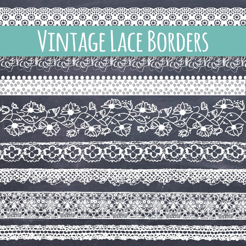 CLIP ART: Lace Borders // Beautiful Vintage Lace Ribbon Clip