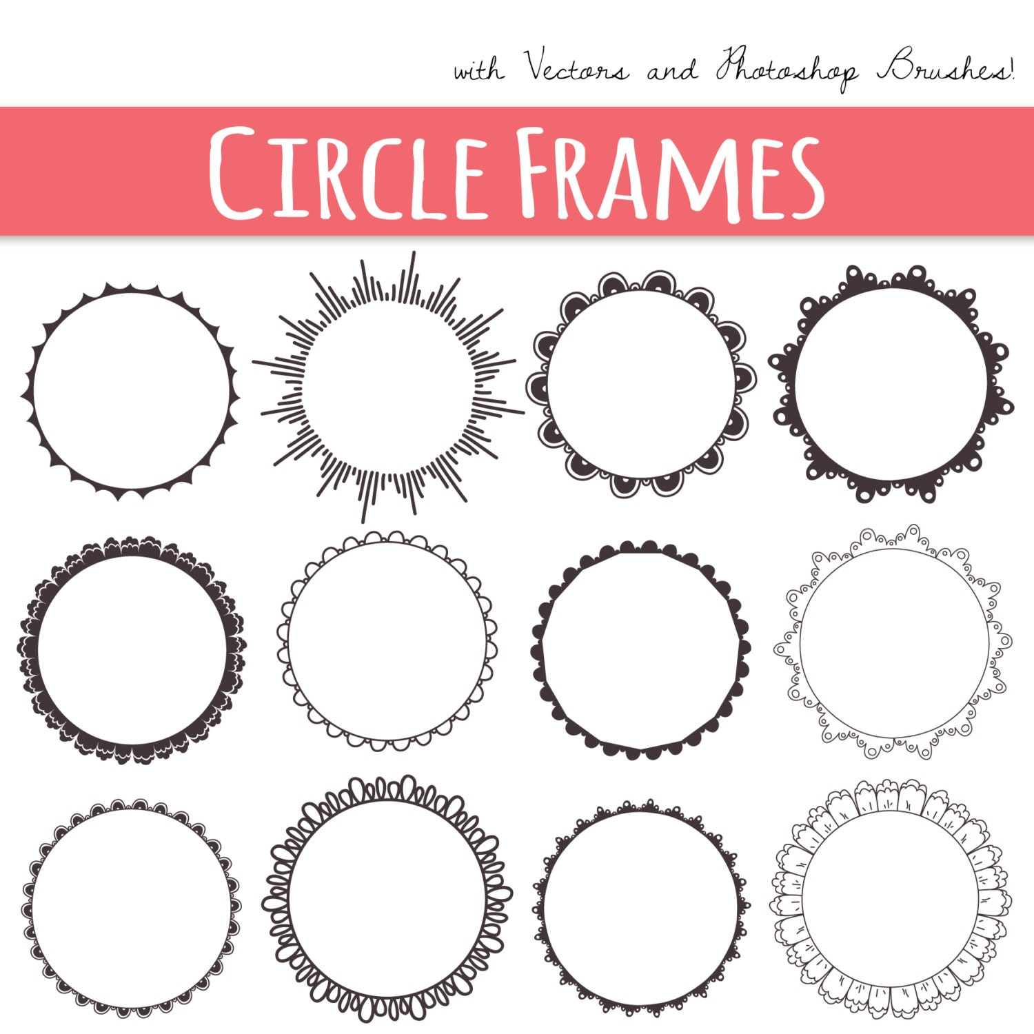 Clip Art Circle Frames Digital Frames Decorative