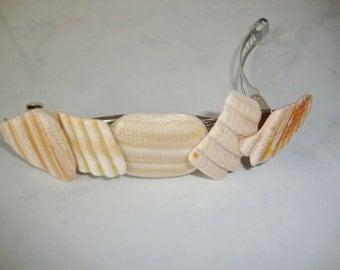 Shell Hair Barrette, Beige Shells, Handmade, OOAK