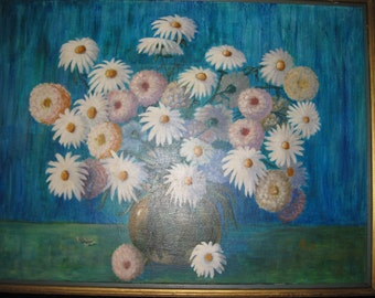 """LARGE OIL PAINTING Vintage Framed Painting Signed M S 72 (Maxwell Silverstein) Local Pick Up Due To Size 42"""" x 32 1/2"""" Daisys And Mums"""