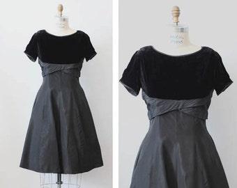 SALE Solanum Dress / 1950s velvet and taffeta dress / vintage black bow dress