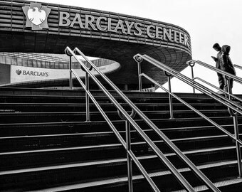 New York Photography - Barclays Center, Brooklyn Nets, Basketball, Subway, Brooklyn Sports, black and white, Brooklyn, New York - 8x10 photo
