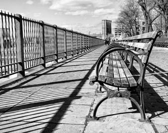New York Photography - Brooklyn Bridge, Brooklyn Heights Promenade, Manhattan Skyline, Black and White Photo, Brooklyn, New York 8x12 photo