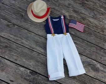 Boys White Pants, Red White Blue Suspenders, Fedora, Patriotic Suit, 4th of July, Memorial Day Celebration/Ring Bearer//MYSWEETCHICKAPEA