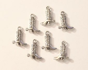 10 Antique Silver Cowboy Boots Charms