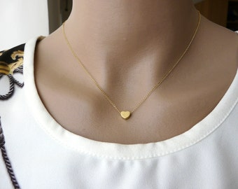 Tiny Heart necklace, Gold Filled necklace, Delicate necklace, Simple Tiny necklace, Bridsemaid necklace, Minimalist