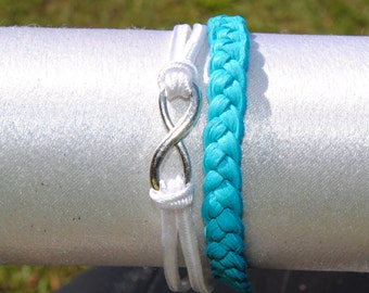 Infinity Turquoise Braided Leather Bracelet, Bride, Bridesmaids Gift, Christmas Gift, or Even For Yourself