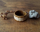 Caña Flecha or Cane of Arrow Muted Yellow Hand Woven Ring