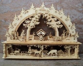 Miniature forest animals scene