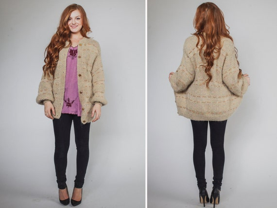 Grandpa sweater- Vintage COZY 70s HIPSTER chunky baggy BEIGE knit cardigan mens womans sweater