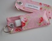 Pink Shabby Chick flowers Chapstick holder keychain stocking stuffer - JellyLouCreations