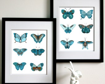 Butterfly Art,  Butterfly Wall Art Collection 2-11x14 Art Prints or Pick Your Own Colors