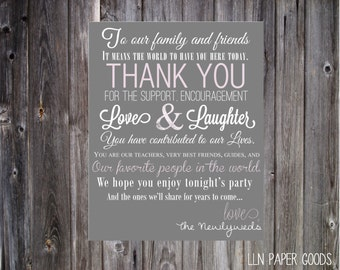 Thank You Wedding Reception Print 4x6 and 8x10- Instant Download