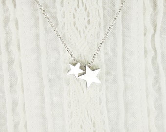 Tiny Two Silver Star Charm Necklace . Dainty and Delicate Necklace Bridesmaid Gift Bridesmaid Necklace Birthday Gift