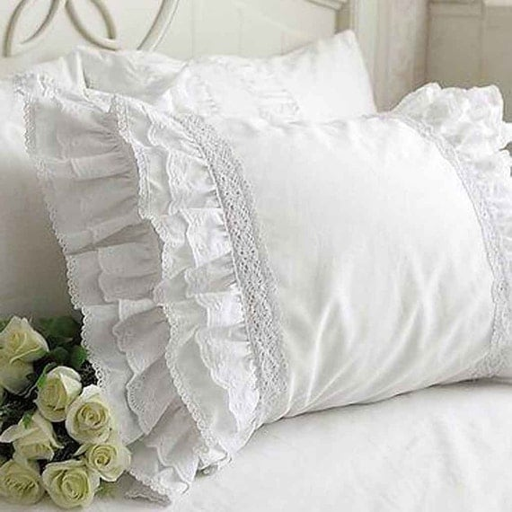 Victorian Bolster Pillows : Ruffle Eyelet Lace Pillow Sham Pillow case-Victorian Shabby Cottage French Parisian Wedding ...