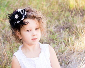 Flower Girl Headband Black and White Flowers Lace and Rhinestones on a sparkle elastic band