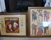 Framed Vintage Roy Rogers and Dale Evans Paper Cut-Out Dolls - 1954