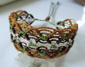 Brown Green & White Macrame Friendship Bracelet Handmade wristband