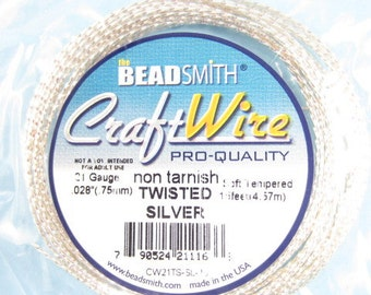 21gauge 15feet Silver Square-Twisted Bead Smith Craft Wire-Qty.1 prepackaged coil (F825)