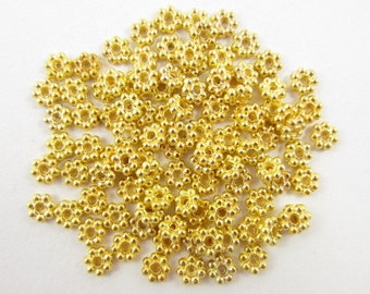 100pcs 5mm Daisy Spacer Gold Plated (F917)