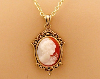 Small Peach Cameo: Victorian Woman Peach Cameo Necklace, Antiqued Gold, Vintage Inspired Romantic Victorian Jewelry, Delicate Cameo Necklace