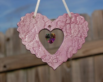 Handcrafted Ceramic Heart Suncatchers, Purple Lace