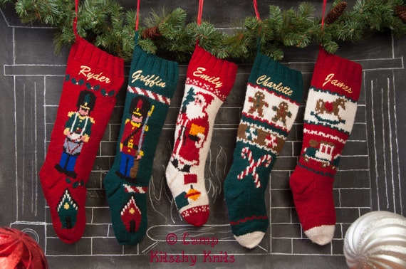 Set of 5 Knitted Personalized Christmas Stocking / Mary Maxim Christmas Stockings /Hand Knit Personalized / Wool Stockings 2250.S5