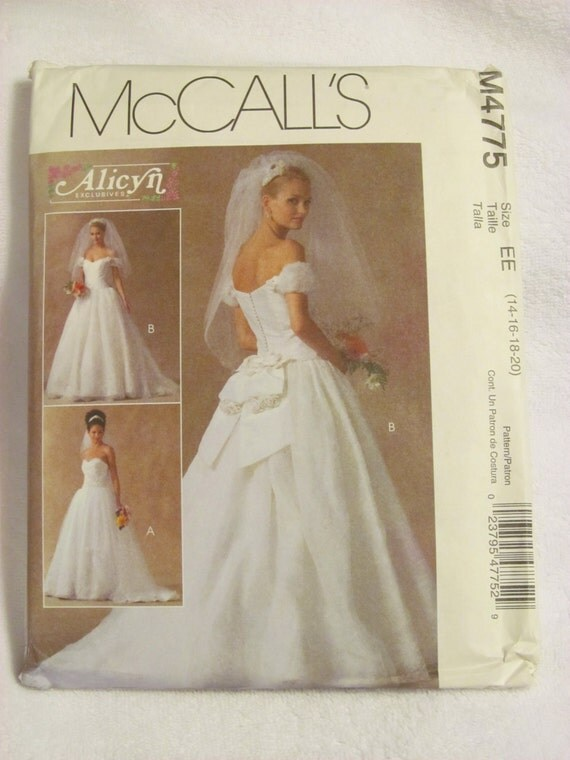 Mccall 39 s m4775 uncut pattern wedding gown bridal gown for Mccall wedding dress patterns